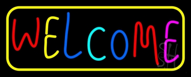 Multi Colored Welcome Bar With Yellow Border LED Neon Sign