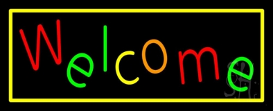 Multi Colored Welcome With Yellow Border LED Neon Sign