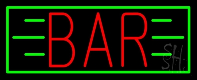 Red Bar With Green Lines And Border LED Neon Sign