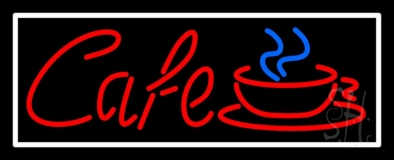 Red Cafe With Cup And Border LED Neon Sign