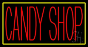 Red Candy Shop With Yellow Border LED Neon Sign