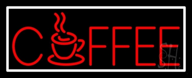 Red Coffee Mug With White Border LED Neon Sign