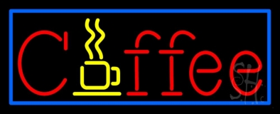 Red Coffee With Blue Border LED Neon Sign