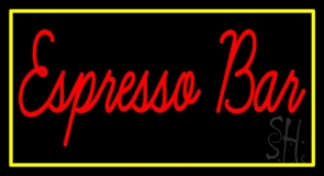 Red Espresso Bar With Yellow Border LED Neon Sign
