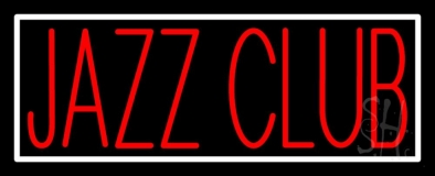 Red Jazz Club With White Border LED Neon Sign