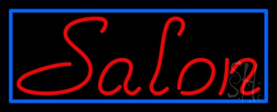 Red Salon With Blue Border LED Neon Sign