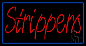 Red Strippers With Blue Border LED Neon Sign