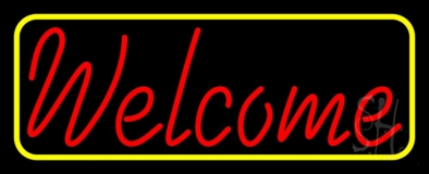 Red Welcome With Yellow Border LED Neon Sign