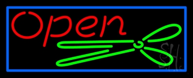 Scissor Open With Blue Border LED Neon Sign