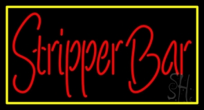 Stripper Bar With Yellow Border LED Neon Sign