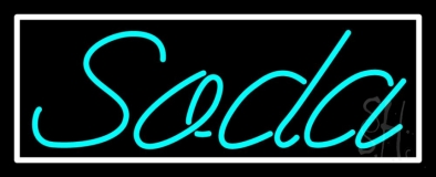 Turquoise Soda With White Border Neon Sign