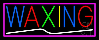 Waxing With Pink Border LED Neon Sign