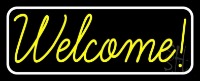 Welcome With White Border LED Neon Sign