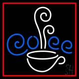White Cup Blue Coffee With Red Border LED Neon Sign