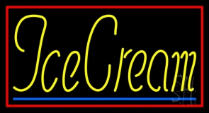 Yellow Ice Cream With Red Border LED Neon Sign