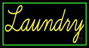 Yellow Laundry With Green Border LED Neon Sign