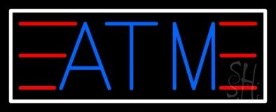 Blue Atm White Border LED Neon Sign