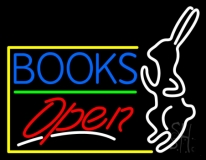 Blue Books With Rabbit Logo Open LED Neon Sign