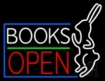 Books With Rabbit Logo Open LED Neon Sign