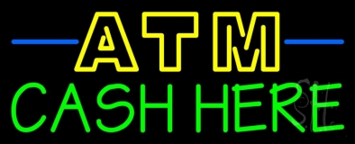 Double Stroke Atm With Cash Here 1 LED Neon Sign