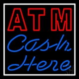 Double Stroke Atm With Cash Here LED Neon Sign