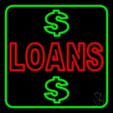 Double Stroke Loans With Dollar Logo With Green Border LED Neon Sign
