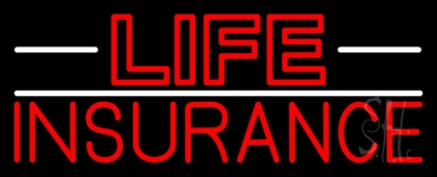 Double Stroke Red Life Insurance with White Lines LED Neon Sign