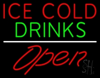 Ice Cold Drinks Red Open LED Neon Sign