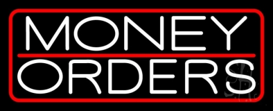 Money Orders With Red Border And  Line LED Neon Sign
