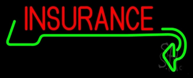 Red Insurance with Green Arrow LED Neon Sign