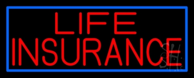 Red Life Insurance Blue Border LED Neon Sign