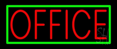 Red Office With Green Border LED Neon Sign