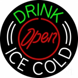 Round Drink Ice Cold Open LED Neon Sign