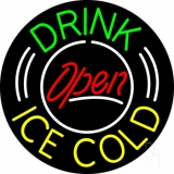 Round Green Drink Yellow Ice Cold Open LED Neon Sign