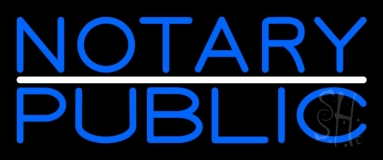 Blue Notary Public With White Line LED Neon Sign