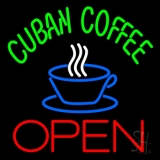 Cuban Coffee Red Open Logo LED Neon Sign