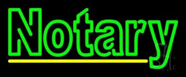 Double Stroke Green Notary LED Neon Sign