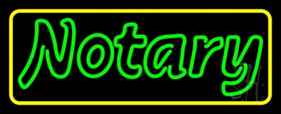 Green Notary Yellow Border LED Neon Sign