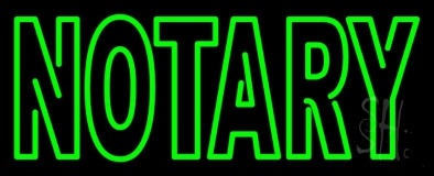 Green Slant Notary LED Neon Sign