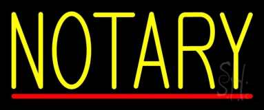 Yellow Notary With Red Line LED Neon Sign