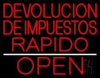 Devolucion De Impuestos Rapido Open LED Neon Sign