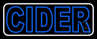 Double Stroke Blue Cider With White Border LED Neon Sign