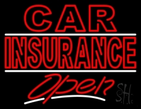 Double Stroke Car Insurance Open LED Neon Sign