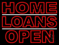 Double Stroke Home Loans Open LED Neon Sign