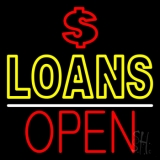 Double Stroke Loans With Dollar Logo Open LED Neon Sign