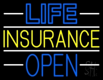 Life Insurance Open Block LED Neon Sign