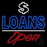 Loans With Dollar Logo Open LED Neon Sign