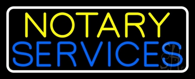 Notary Services With White Border LED Neon Sign