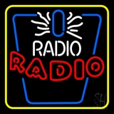 Radio Radio Yellow Border LED Neon Sign