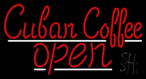 Red Cuban Coffee Open LED Neon Sign